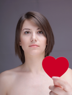attractive young girl with a heart shape