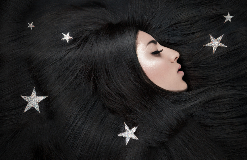 Moon, dark sky and stars, fantasy beauty portrait